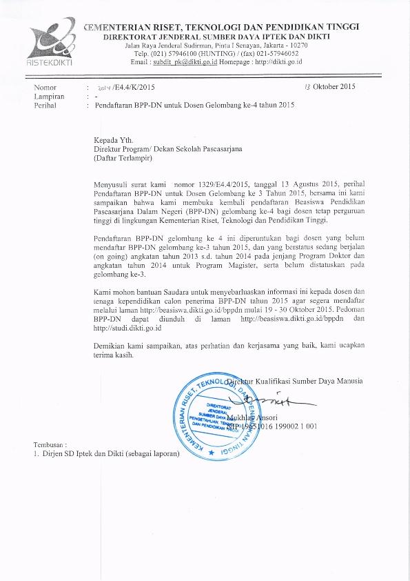 Pendaftaran BPPDN untuk Dosen Gel.4 tahun 2015