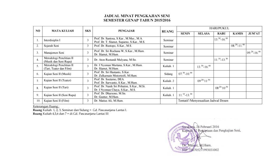 REVISI JADWAL PISAH PERKULIAHAN SEMESTER PENGKAJIAN SENI GENAP 2015-2016