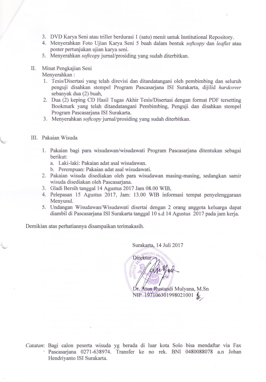Surat Edaran Untuk Wisudawan Program Pascasarjana